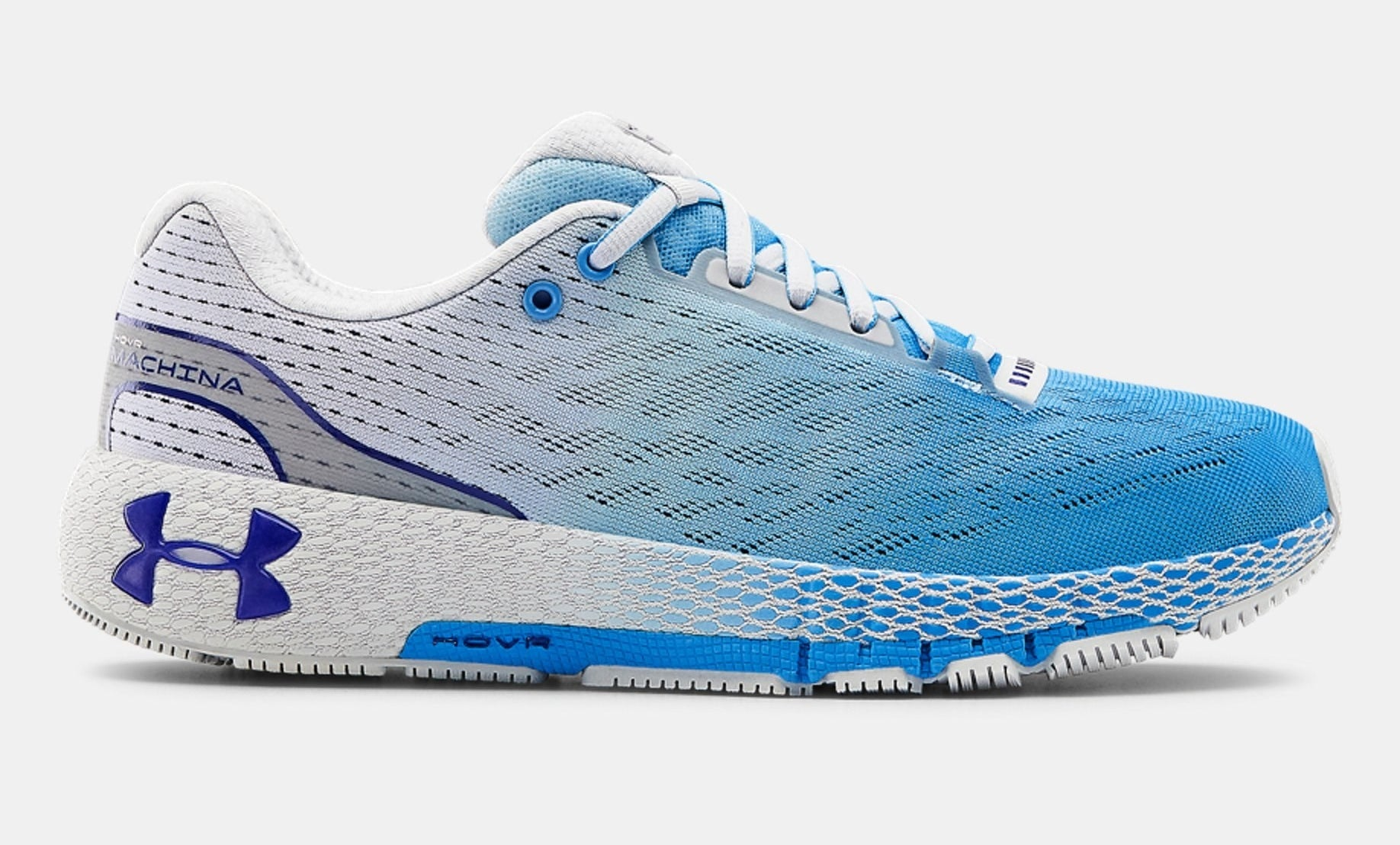 The blue and white running shoes