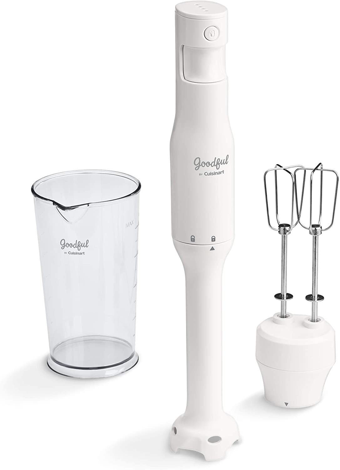 a white stick blender, blending cup, and attachable beaters