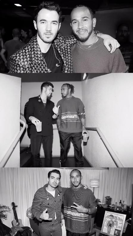 Photos of Lewis Hamilton with the Jonas Brothers