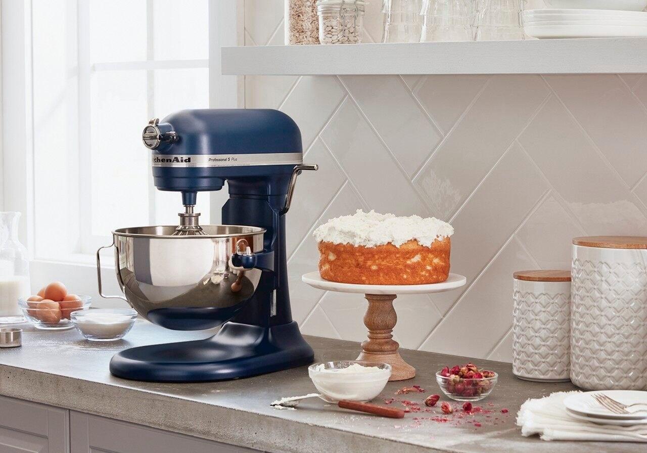 kitchenaid stand mixer in blue