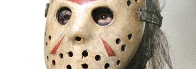 Jason Voorhees in an old hockey goalie mask