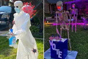 A skeleton in PPE with a bottle of Lysol running from the coronavirus, and two skeletons in line to vote
