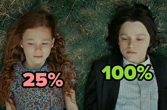 A young lily potter and severus snape, with 25% over lily and 100% over snape