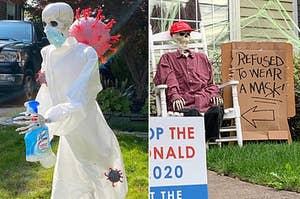 """在PPE一具骷髅从冠状病毒运行一瓶来苏尔,而特朗普的支持与说的标志骨架""""为由,拒绝戴口罩"""""""