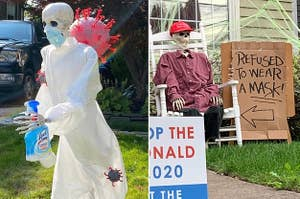 A skeleton in PPE with a bottle of Lysol running from the coronavirus, and a skeleton of a Trump support with a sign that says