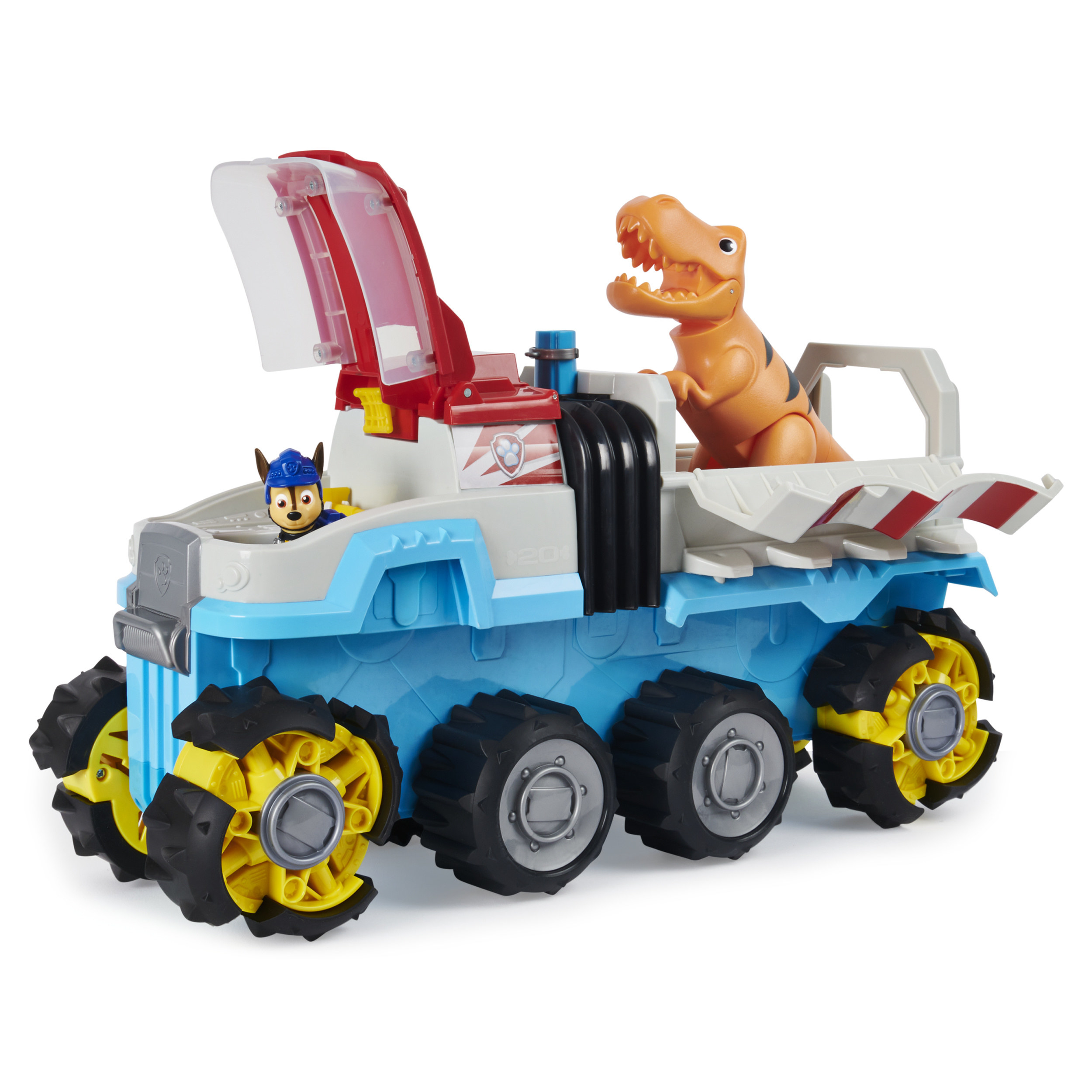 Motorized Paw Patrol vehicle with small dog figure in the front and T-rex figure in the back