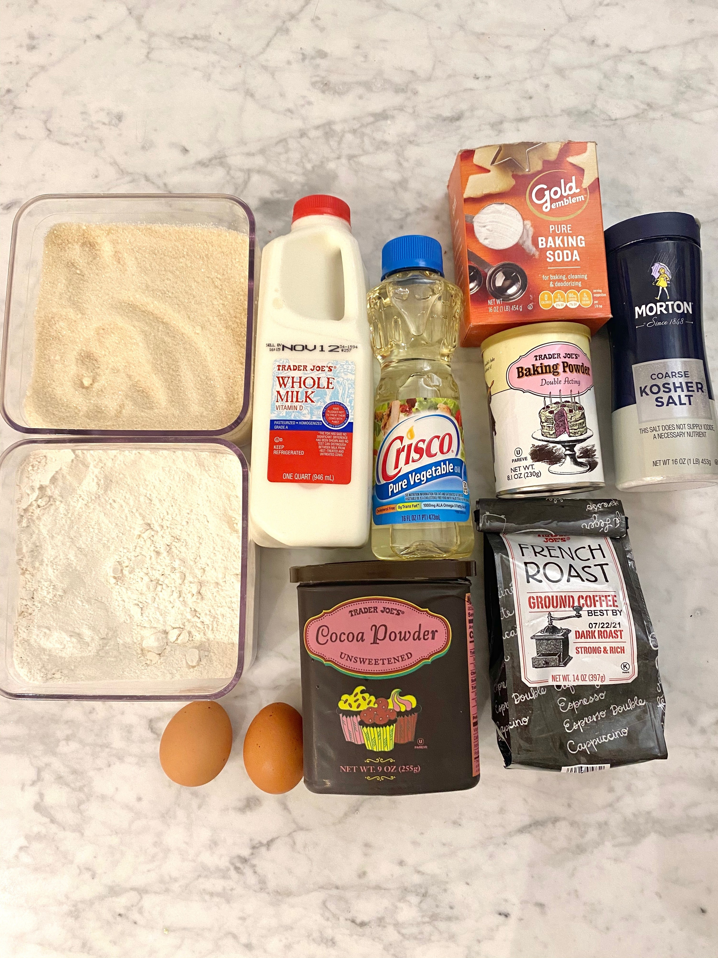 Ingredients for Nana's devil's food cake including flour, sugar, eggs, cocoa, and more.