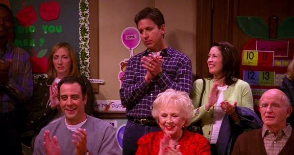 A still of Ray Barone, Debra Barone, Robert Barone, and Marie Barone in Everybody Loves Raymond
