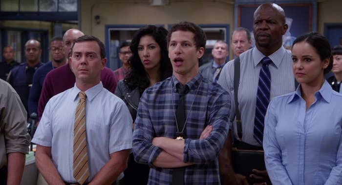 A still of Charles Boyle, Jake Peralta, and Amy Santiago in Brooklyn Nine-Nine