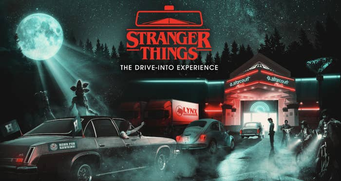 Illustration of cars entering the Stranger Things: Drive-Into Experience
