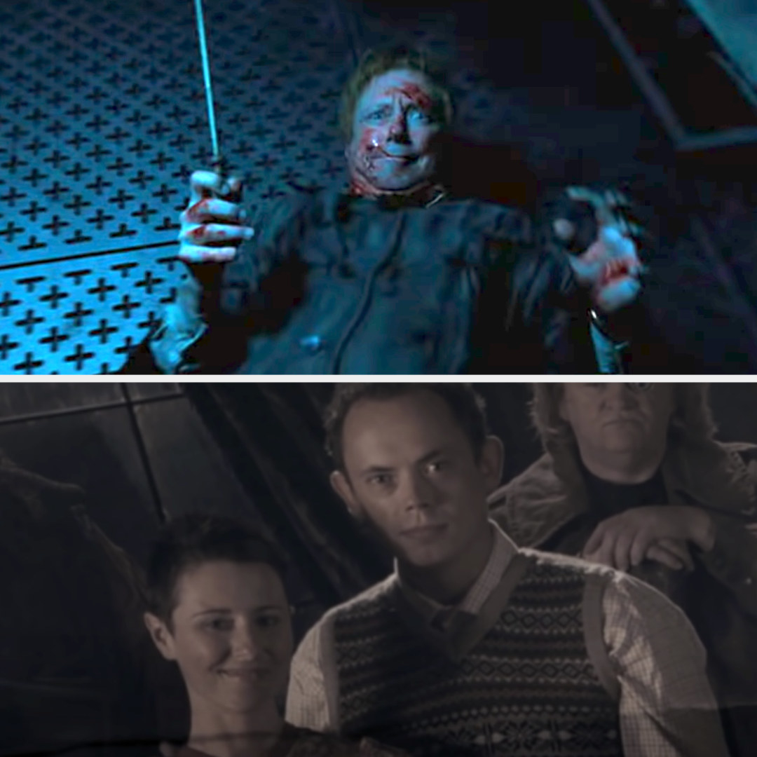 Arthur Weasley being attacked in the Department of Mysteries; Neville's parents in a photograph of the original Order