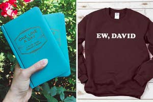 On the left, a one line a day journal, and on the right, an ew, david schitt's creek sweatshirt