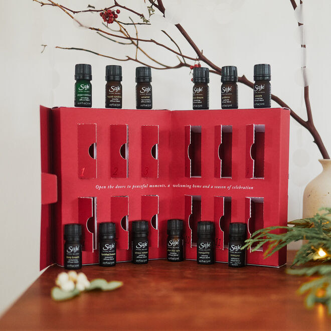 the red calendar with tiny doors that open to reveal bottles of essential oils