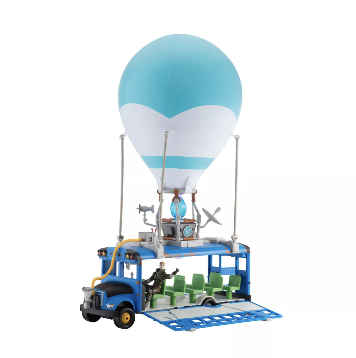The Fortnite Battle Bus Deluxe Vehicle opened to reveal interior and action figure