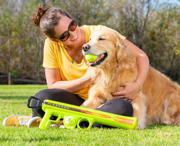 Owner petting dog who has ball in mouth with launcher on ground beside them