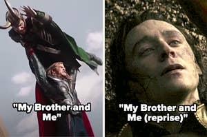 《我的兄弟和我》,雷神在《复仇者联盟》中把洛基举过头顶;《我的兄弟和我》中洛基在黑暗世界中死亡