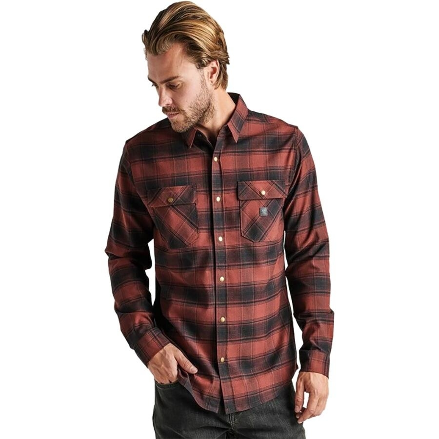 a model wearing the shirt with two front chest pockets