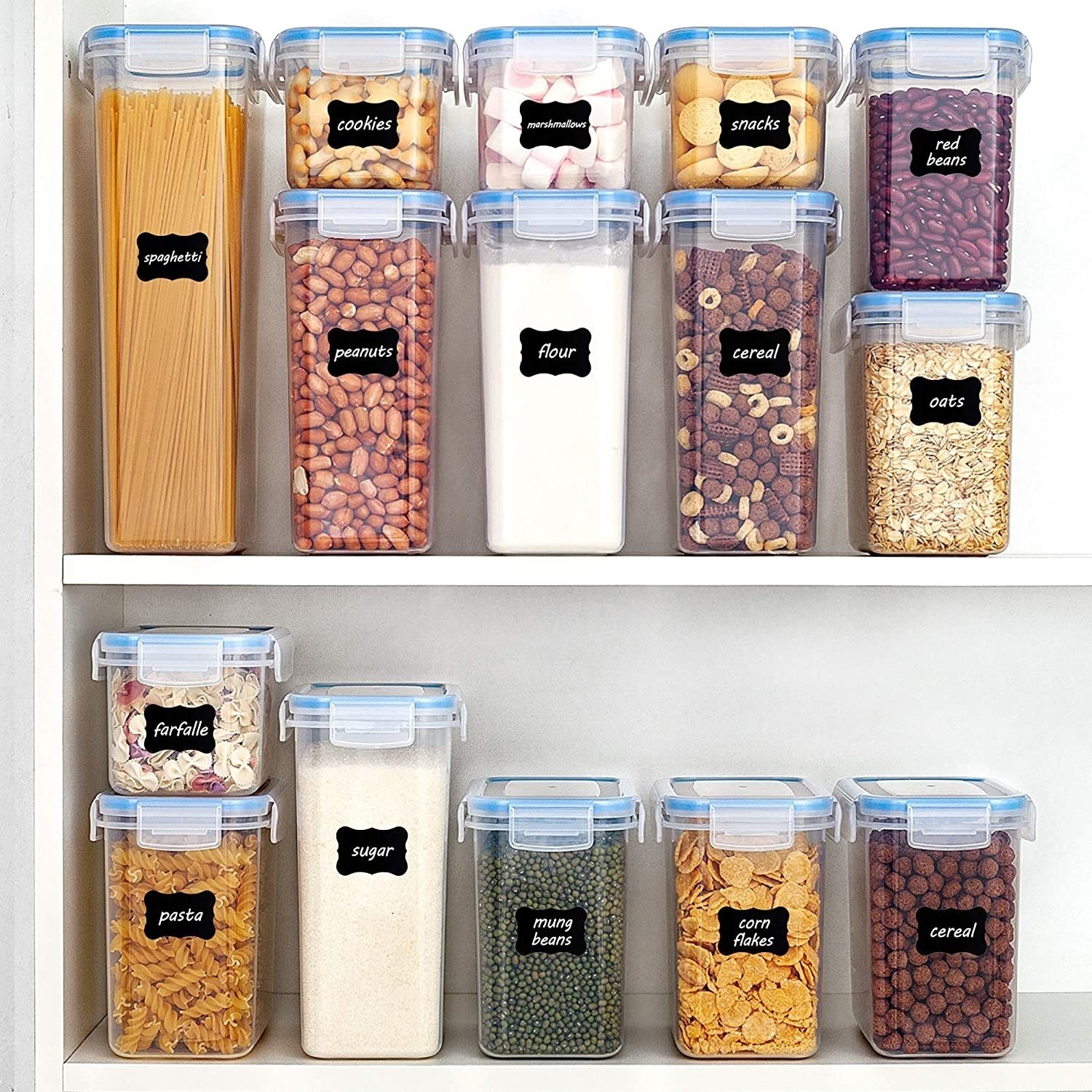 The full 15 piece Vtopmart Airtight Food Storage Containers Set being used to store different kinds of food