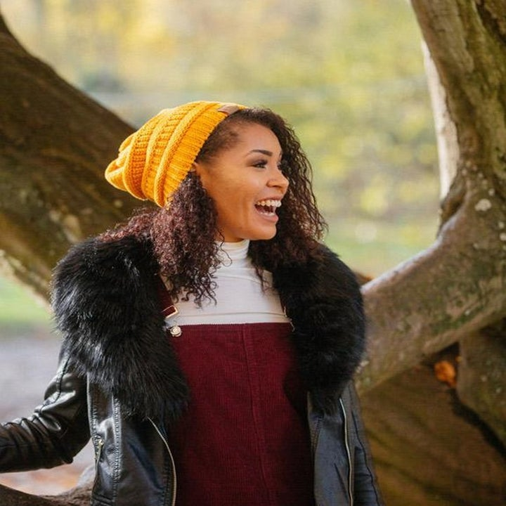 Model in the yellow knit hat