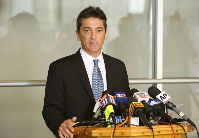 Scott Baio speaking at a press conference