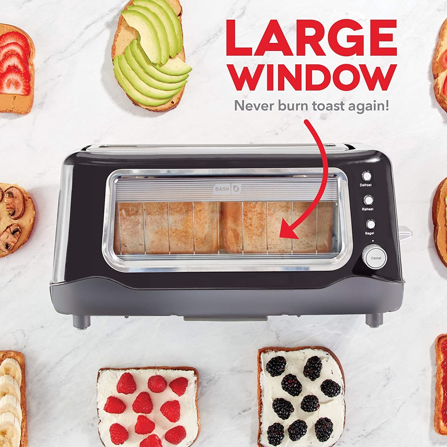 "The toaster in black with text that says ""large window. never burn toast again!"""