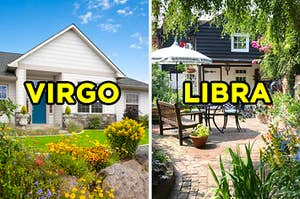 "On the left, the exterior of a home with a flower garden out front labeled ""Virgo,"" and on the right, a backyard with stones on the ground, a bench, and an outdoor table surrounded by plants labeled ""Libra"""