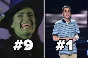 来自Wicked的Elphaba和来自亲爱的Evan Hansen的Evan分别给出了9号和1号