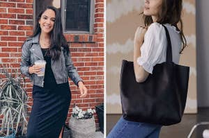 (left) Faux leather jacket (right) Black leather tote bag