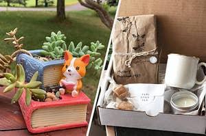有茶杯,蜡烛,糖果,茶,书书播种机和书籍神秘盒