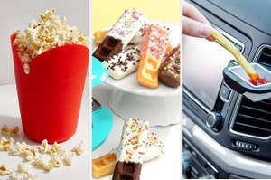 A split screen with a popcorn maker and bowl a set of waffle sticks and a sauce holder clipped to a car vent