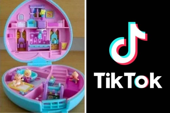 A Polly Pocket toy from the 2000s and the TikTok logo