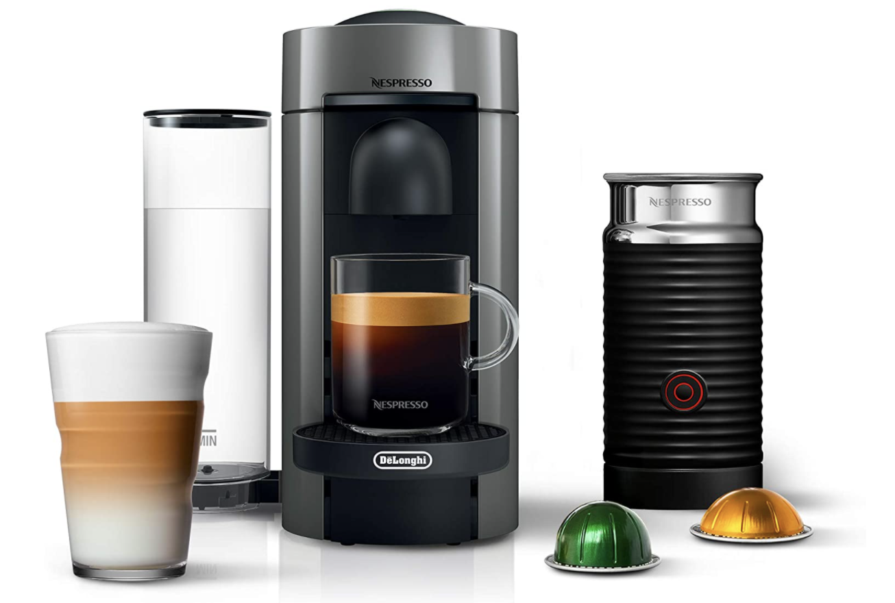 Nespresso coffee maker bundle with external milk frother