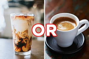 "On the left, an iced coffee in a glass, and on the right, a shot of espresso with ""or"" typed in between the two images"