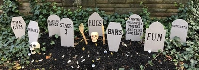 Gravestones set up in someone's yards that say things like,