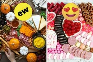 """上面有一个""""EW""""的徽章,并用心脏的眼睛甜点熟食板上的奶酪和肉熟食板徽章就可以了。"""