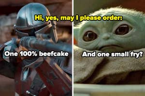 The Mandalorian and Baby Yoda with text reading,