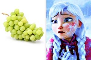 从冷冻安娜,包裹在冰和葡萄渴望寻找。