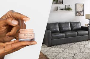 to the left: a model using olay eye cream, to the right: a black leather couch