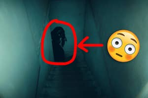 A demonic figure at the bottom of a staircase
