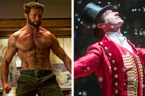 Side by side of Hugh Jackman in X-Men and The Greatest Showman