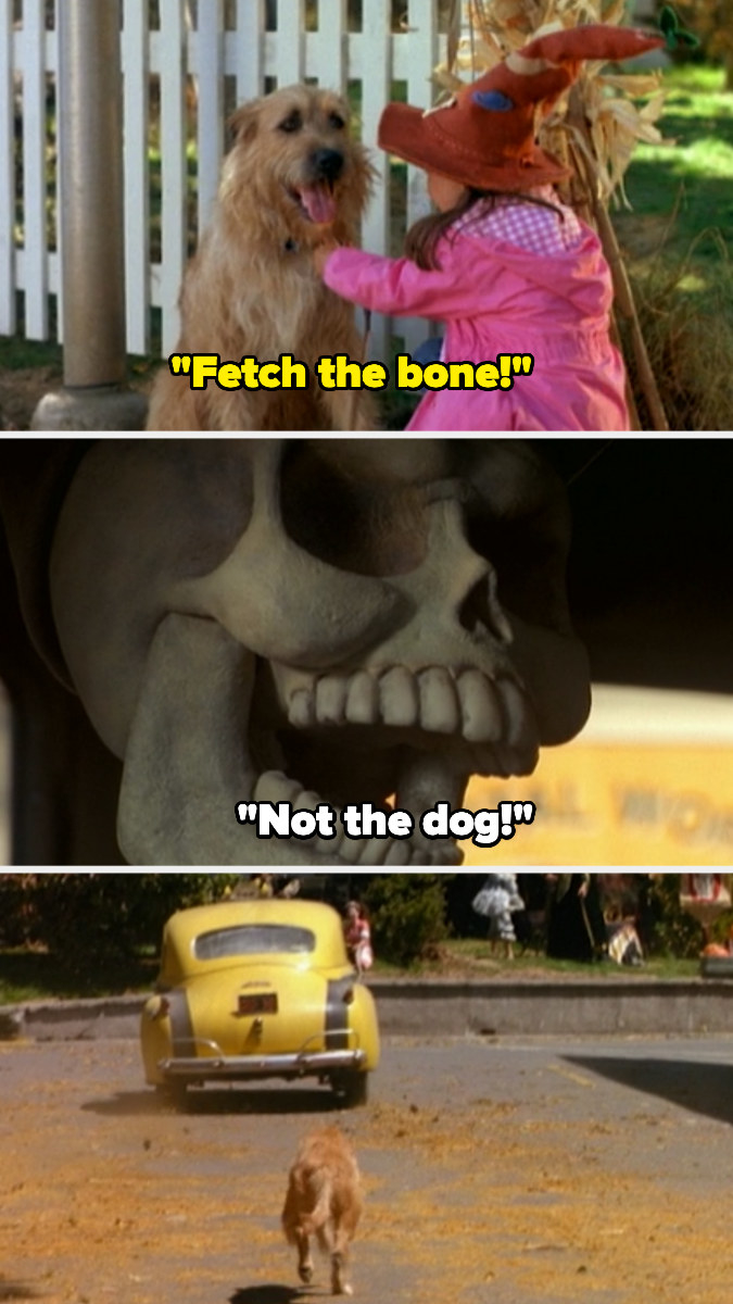 "Sophie letting the dog off the leash and saying, ""Fetch the bone!"" and the dog running after the skeleton, who drives away"
