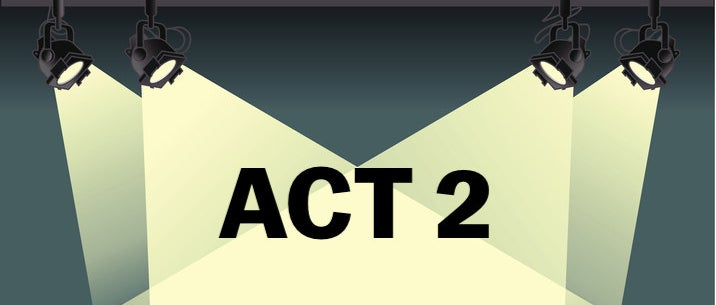 """spotlights with the words """"Act 2"""""""