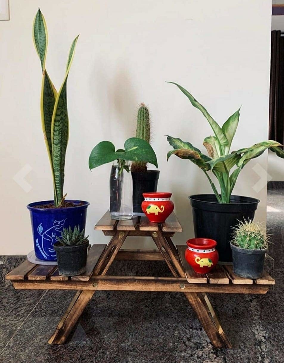 Table with plants and vases on top.