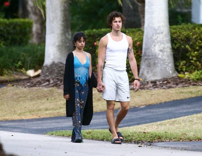 Camila and Shawn taking a morning walk