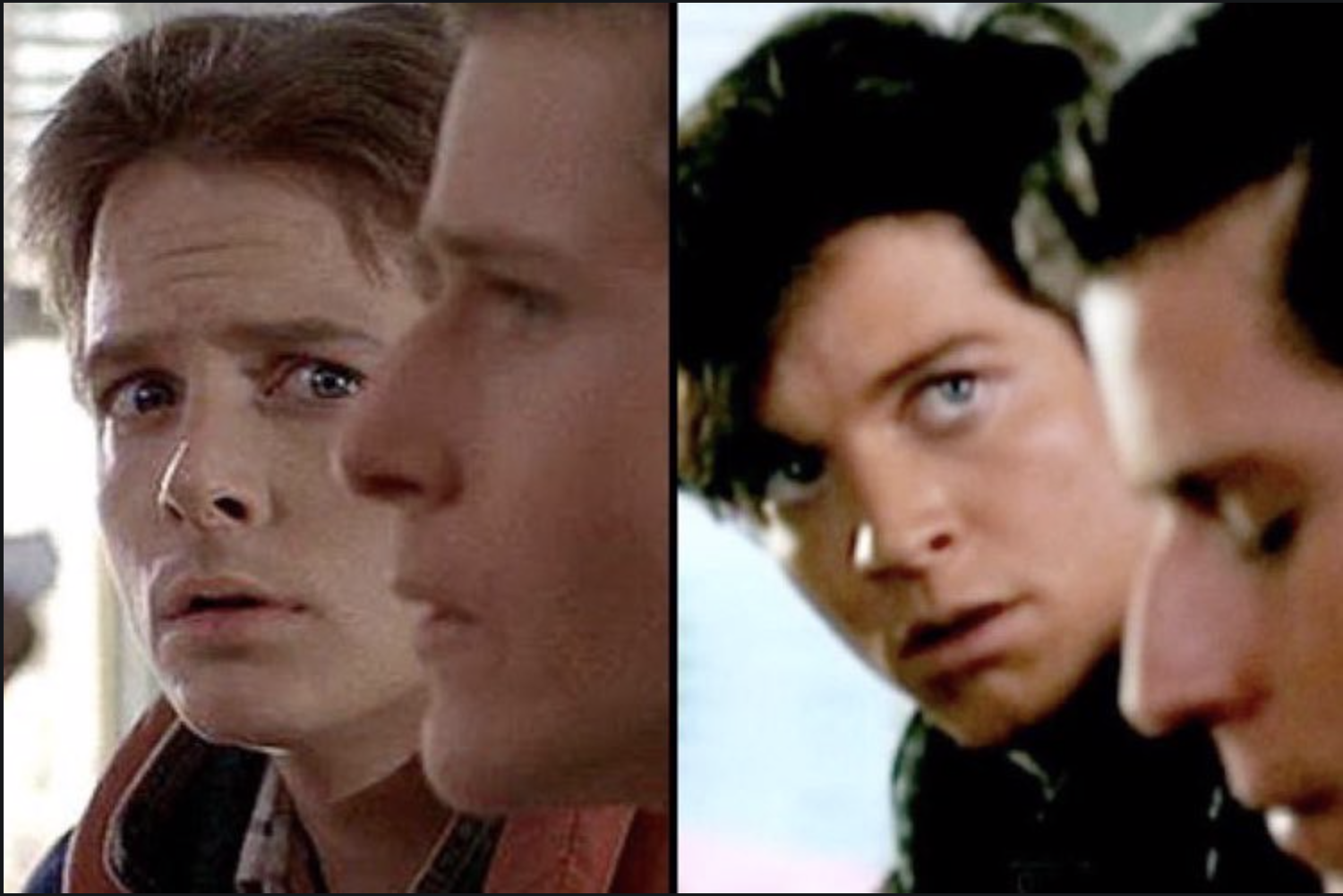 Eric Stoltz as Marty McFly side by side with Michael J. Fox as Marty