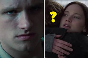 Peeta is on the left looking evil with Katniss on the right hugging a man whose face is not revealed
