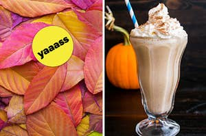 """A pile of fall cherry leaves are on the left with a """"yaaass"""" badge and a pumpkin spice latte on the right"""