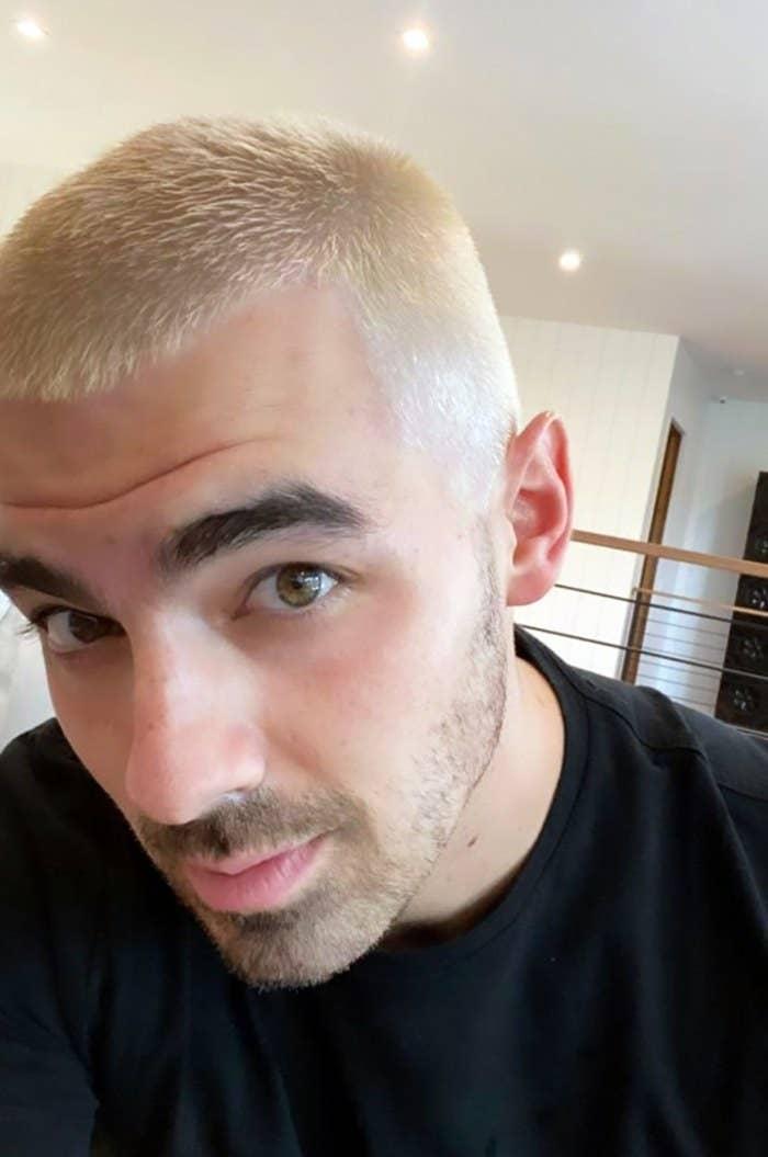 Joe's platinum blonde hair selfie
