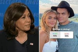 """卡马拉·哈里斯面色失望了,两个人谁看与投票非常相似的""""兄弟姐妹或约会?"""""""