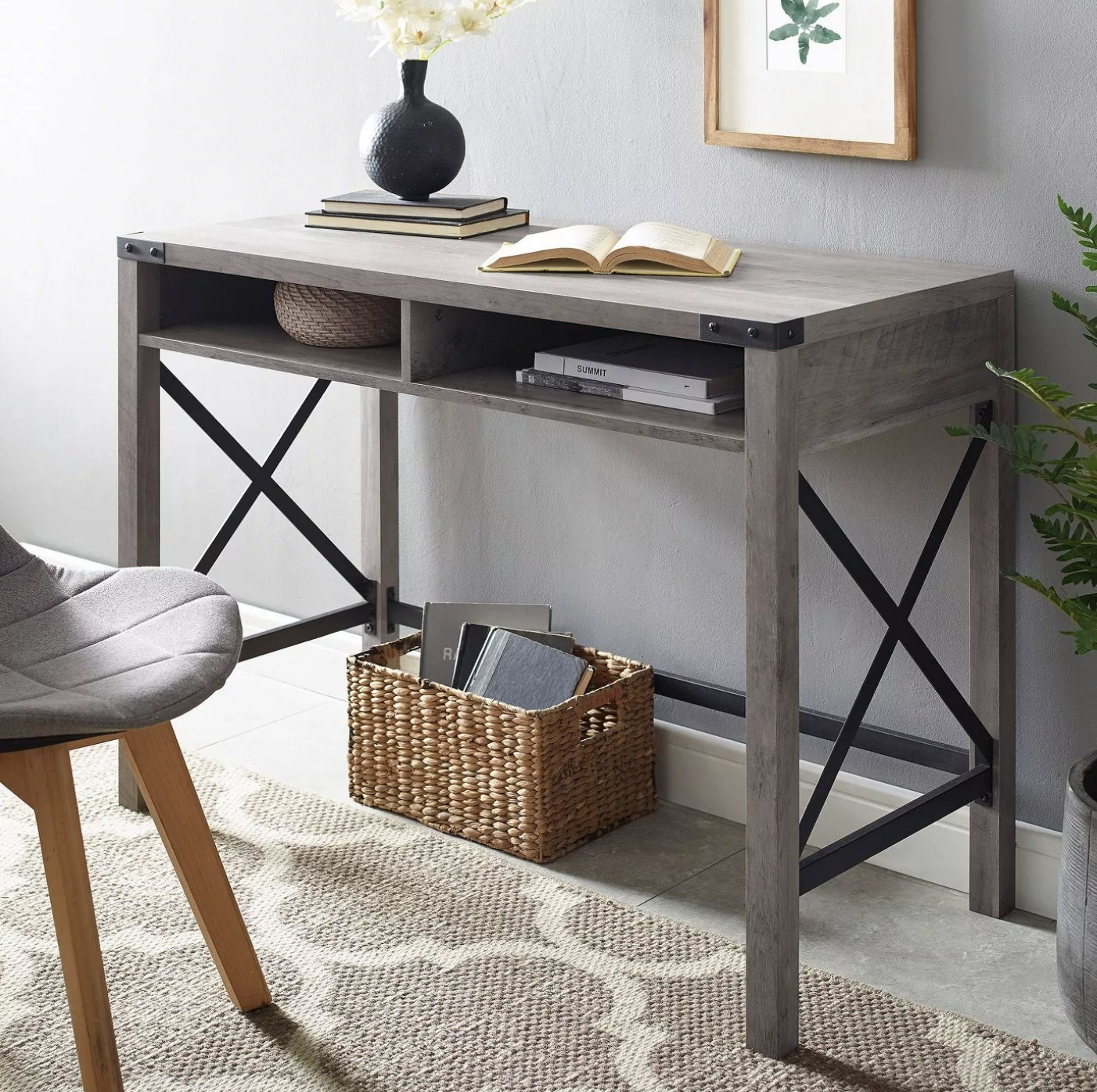 A gray wash writing desk in a living space